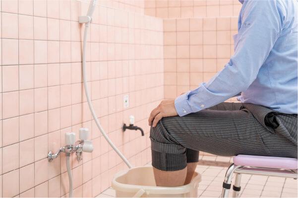 高濃度人工炭酸泉が出るシャワーを完備